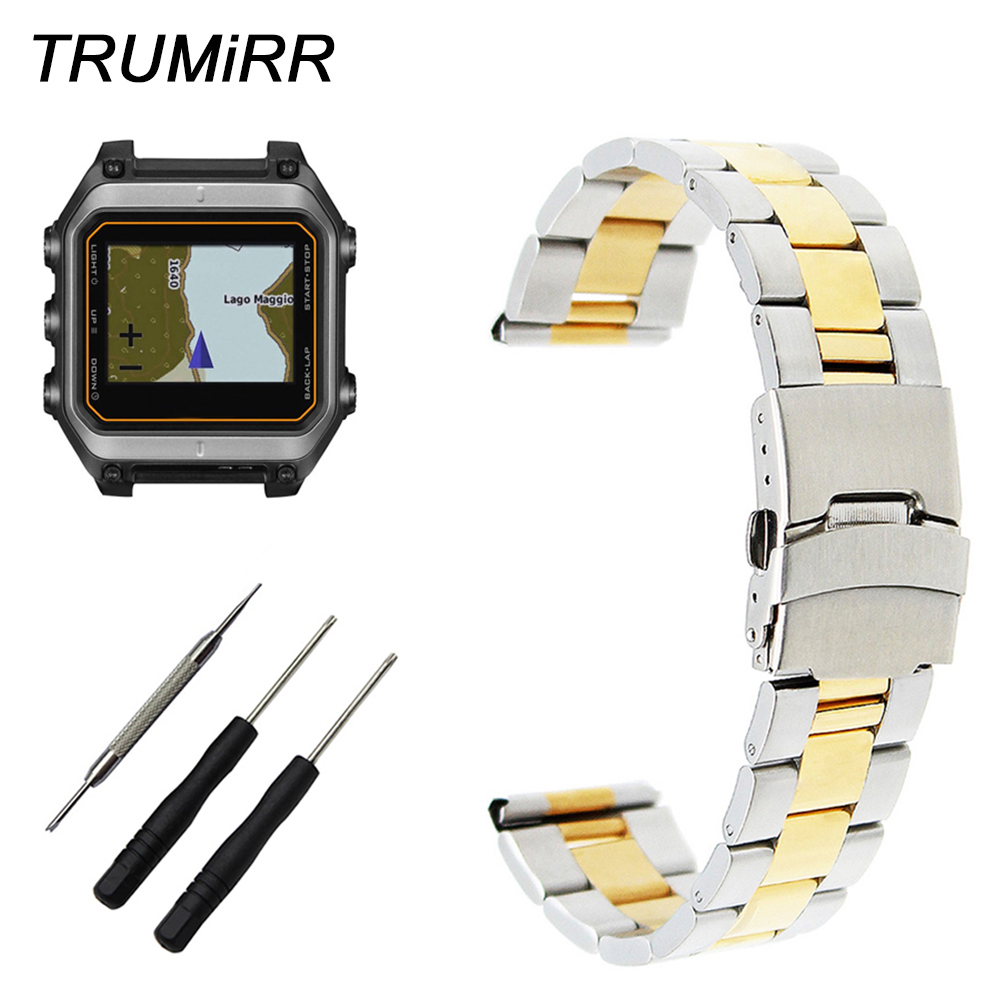 22mm Stainless Steel Watch Band +Tool for Garmin Epix Forerunner 935 FR935 Safety Buckle Strap Wrist Bracelet Black Gold Silver image