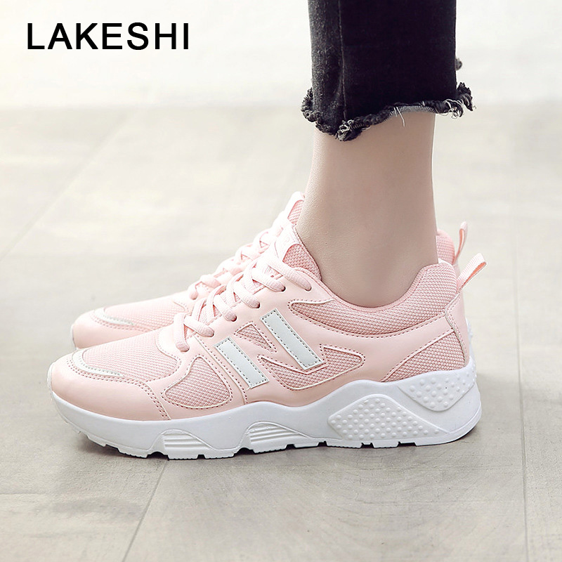 LAKESHI New Fashion Women Sneakers Women Casual Shoes Comfortable Mesh Female Sneakers Outdoor Walking Shoes Lace-Up White Shoes high quality walking shoes thick crust sneakers female ins the hottest shoes 2018 new small white women s sport shoes wk46