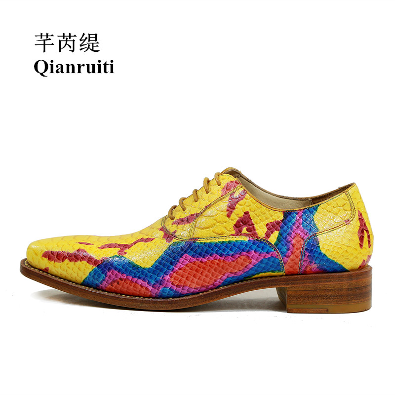 Qianruiti Chaussure Homme Men Python Skin Leather Shoes Printing Graffiti Slipper Men Lace-up Dress Shoes with Exquisite Box dxkzmcm men casual shoes lace up cow leather men flats shoes breathable dress oxford shoes for men chaussure homme