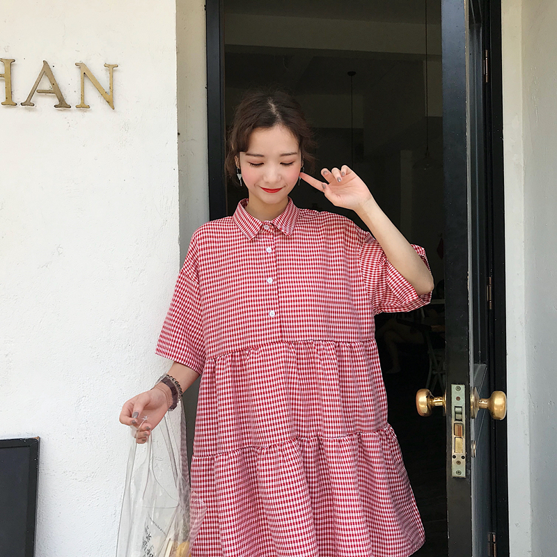 Youg 2018 Promotion A-line Regular Empire Summer Drap Plaid Preppy Style Longo Vestidos Mujer Dress Short Sleeve Women Dresses