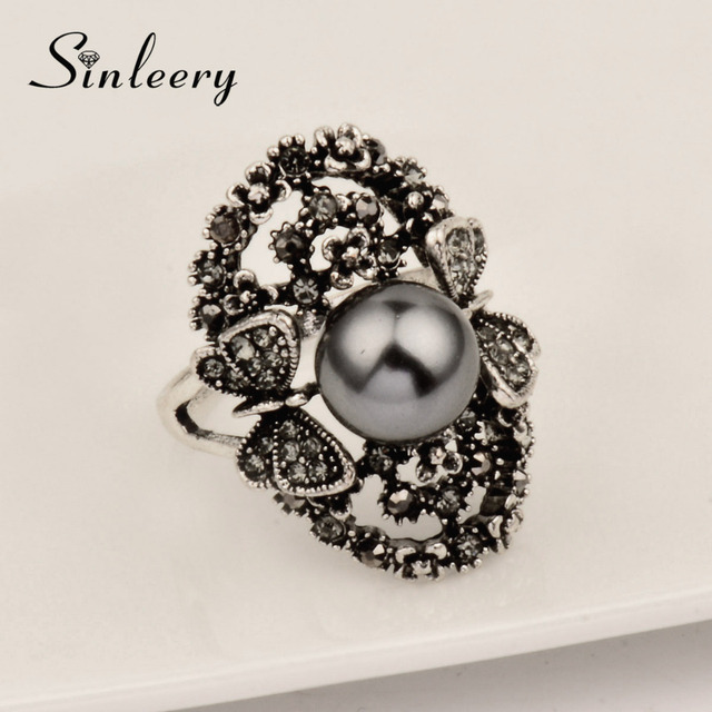 SINLEERY Vintage Big Gray Simulated Pearl Rings Antique Silver Color Gray Crystal Hollow Flower Ring For Women Jewelry JZ003