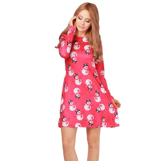 Nette Weihnachten Festival Kleidung Frauen Mini Plus Größe Kleid ...