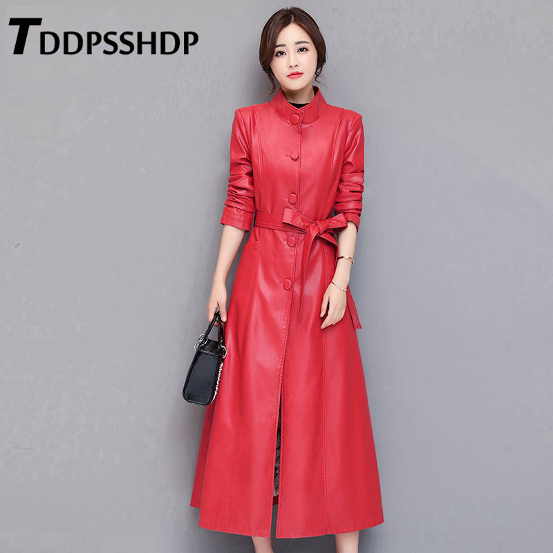2019 Plus Size M-5XL Red and Black Pu   Leather   Women Long Coat Single Breasted Stand Collar High Street Female Jacket