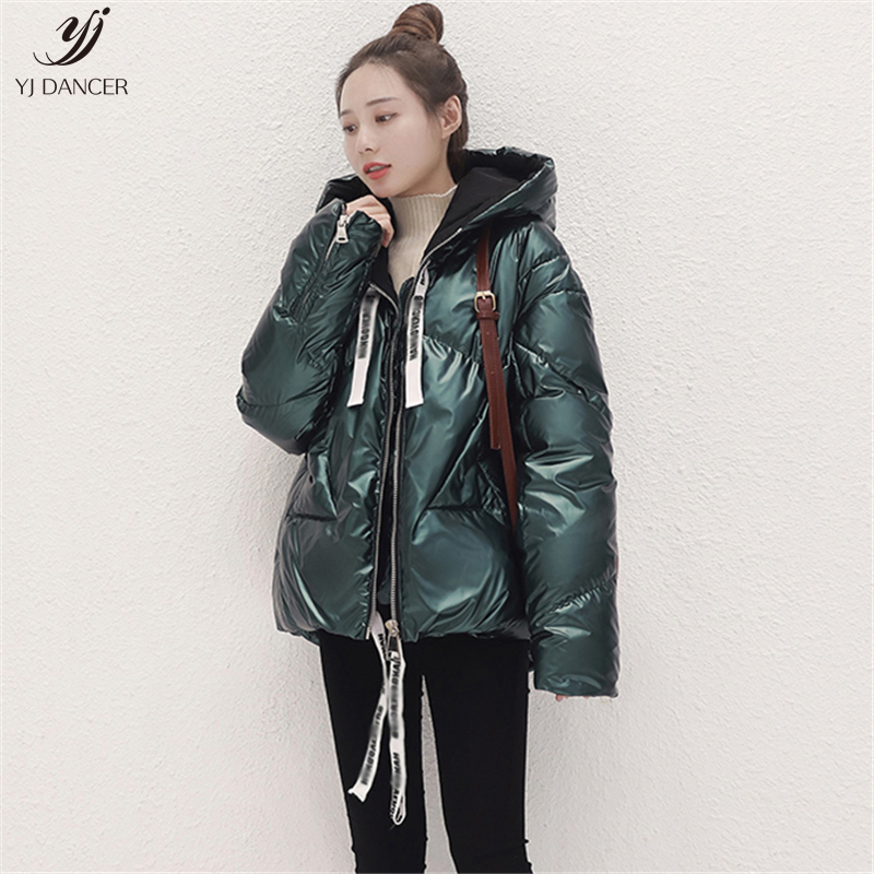 Glossy Short   Down   Jacket Female 2019 Winter New Fashion White Duck   Down   Thick Zipper Hooded Long-Sleeved   Down     Coat   H00375