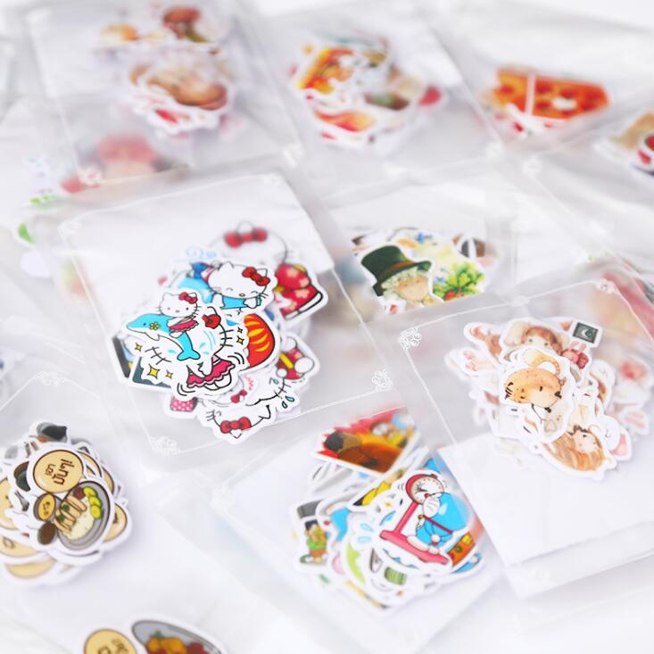 Line Expression Cartoon Animal Food Stickers Set Decorative Stationery Craft Stickers Scrapbooking DIY  Stick Label