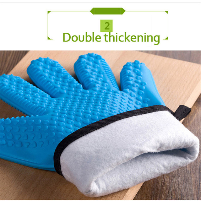 Food Grade Kitchen Heat Resistant Silicone Gloves, 2 Pcs