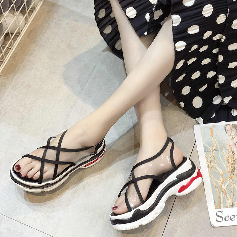 Ho Heave 2019 Casual Women Slippers Lady Fashion Classics Sandals Women Heel High Platform Slides Summer Outside Flat With Shoes