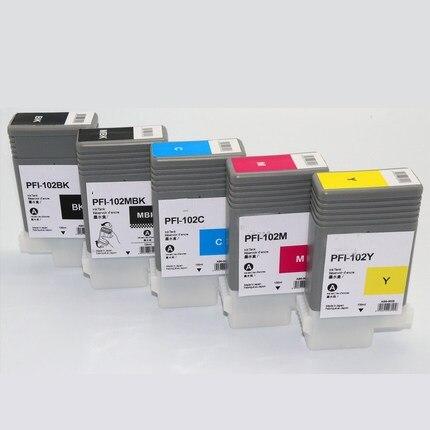 5pcs PFI 102 pfi 102 ink cartridges for Canon iPF500/510 iPF750/755 iPF600/605/610 iPF700/710/720/760 iPF650/655 Printer ink
