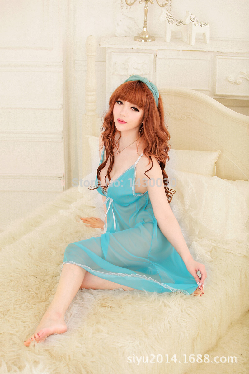 Hot Sale 2016 New candy colors women sexy slim lingerie diaphanous pajama lace skirt sleepwear robes