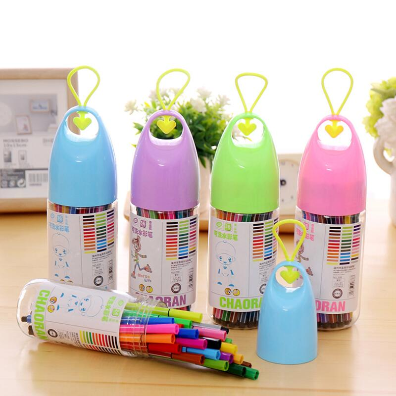 12/18 Colors Washable Watercolor Pen Drawing Painting Art Marker For Child Lucky Bottle Student Art Supplies