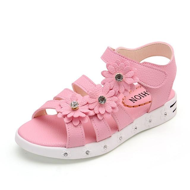 6047b71a4 2018 nuevos niños Niñas verano Zapatos niños Sandalias para Niñas pu flores  princesa Zapatos Niñas sandalia