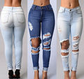 New Sexy Women Denim Skinny Pants High Waist Stretch Jeans Slim Pencil Trousers