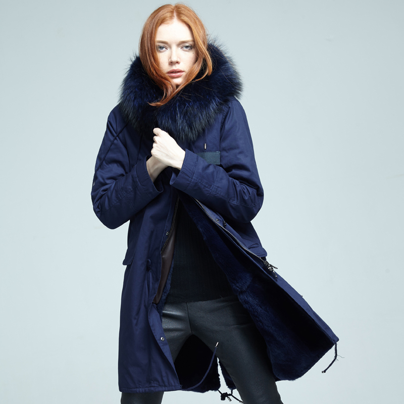 2017 Direct supply from factory Winter Fashion Long style women coats Parka Fox Collar Genuine leather