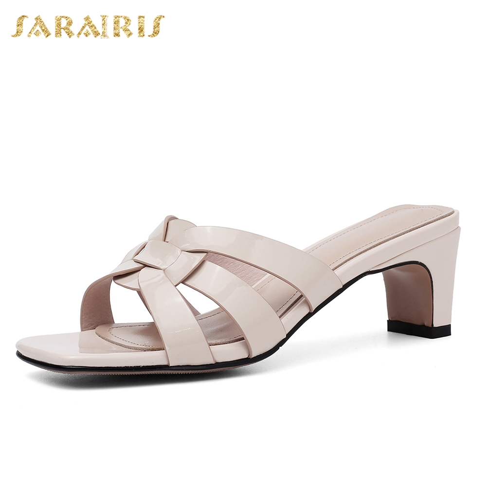 Sarairis 2019 New Elegant Genuine Leather Shoes Mules Summer Women High Heels Slippers Women Shoes Woman Size 33-40Sarairis 2019 New Elegant Genuine Leather Shoes Mules Summer Women High Heels Slippers Women Shoes Woman Size 33-40