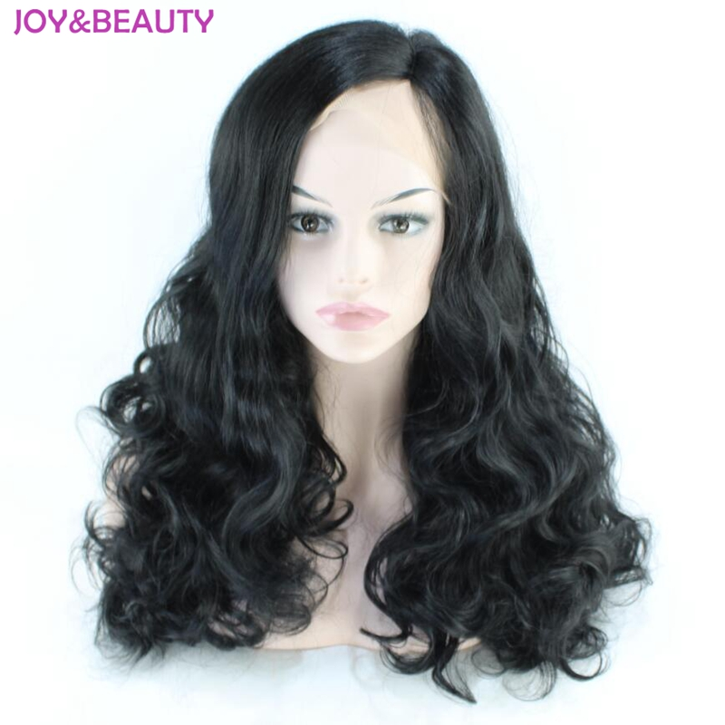 JOY&BEAUTY Natural black Long Wavy Synthetic Lace Front Wigs Side Parting High Temperature Fiber Hair For Black Women