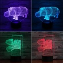 Animal hippo Led Night Light Touch Sensor 7 Color Changing Decorative Lamp Child Kids Baby Kit Nightlight river horse 3D Lamp