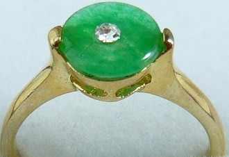 จัดส่งฟรี>>>@@เครื่องประดับแฟชั่นขายส่ง18kgpสีเขียวรอบเหรียญหยกแหวน(#7,8, 9) #