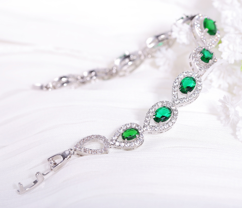 Female Bracelet Gift for Girlfriend Solid 925 Sterling Silver Jewelry Party Green Color Gems Chain Link Bracelet Ladies Dating