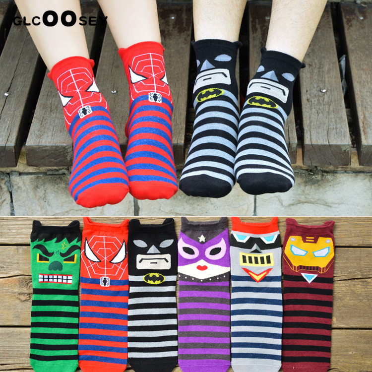 Marvel The Avengers   Socks   Spiderman Iron Man Batman Cartoon Couples Funny Novelty Charm Gift Man Woman Spring Black Red Summer