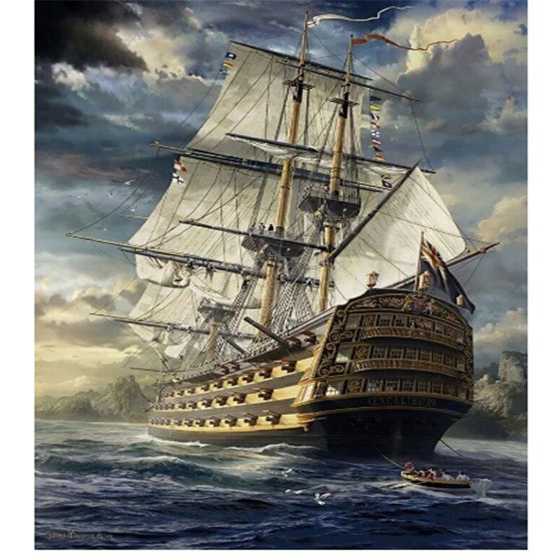 Diamond schilderen saling boot op de zee, volledige vierkante diamondpainting strass, schip, diamant borduurwerk Caribbean b809