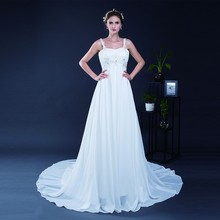 Elegant A Line Wedding Dress Spaghetti Strap Sleeveless