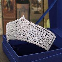 Свадебная Корона Люкс и короны, диадемы полный кубического циркония серебряный Цвет волос корона для Для женщин 2018 Женские аксессуары для в