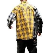 2019 جديد الأوروبية الأمريكية نمط من اتجاه اللون مطابقة منقوشة قميص الرجال عارضة الهيب هوب فضفاض طويل الأكمام قميص C1015