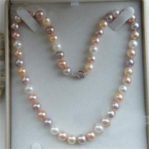 """100% Selling full 8-9mm Akoya A Multicolor Pearl Necklace 18"""""""
