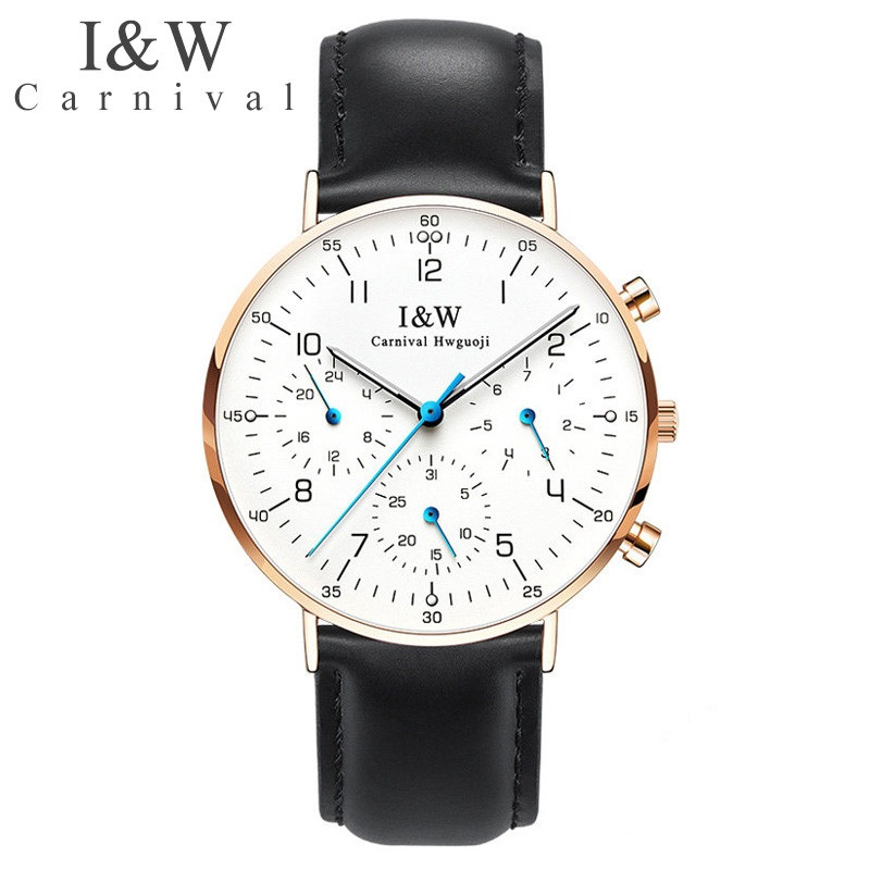 Carnival IW Men's Multifunction Night Light Watch Quartz Watch Waterproof Ultra-thin Steel Watch Calendar Casual Leather Watch carnival iw authentic ladies watch quartz watch steel mesh with noble women s watch waterproof ultra thin simple women s watch