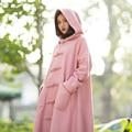 MM107 Nuevo Invierno de la Llegada 2016 de la vendimia rosada de un solo pecho suelta una línea larga maxi abrigo de lana con capucha de las mujeres