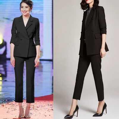 2018新しい作業ファッションパンツスーツは2ピースセットダブルブレスト黒ブレザージャケット+クロップドパンツオフィスレディスーツ女性衣装