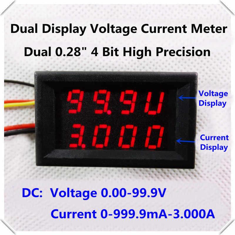 RD Dual LED Display 4 bit DC 0-100V/1A/3A 0.28 Digital Ammeter Voltmeter Car voltage current meter 5 wire [4pcs/lot]
