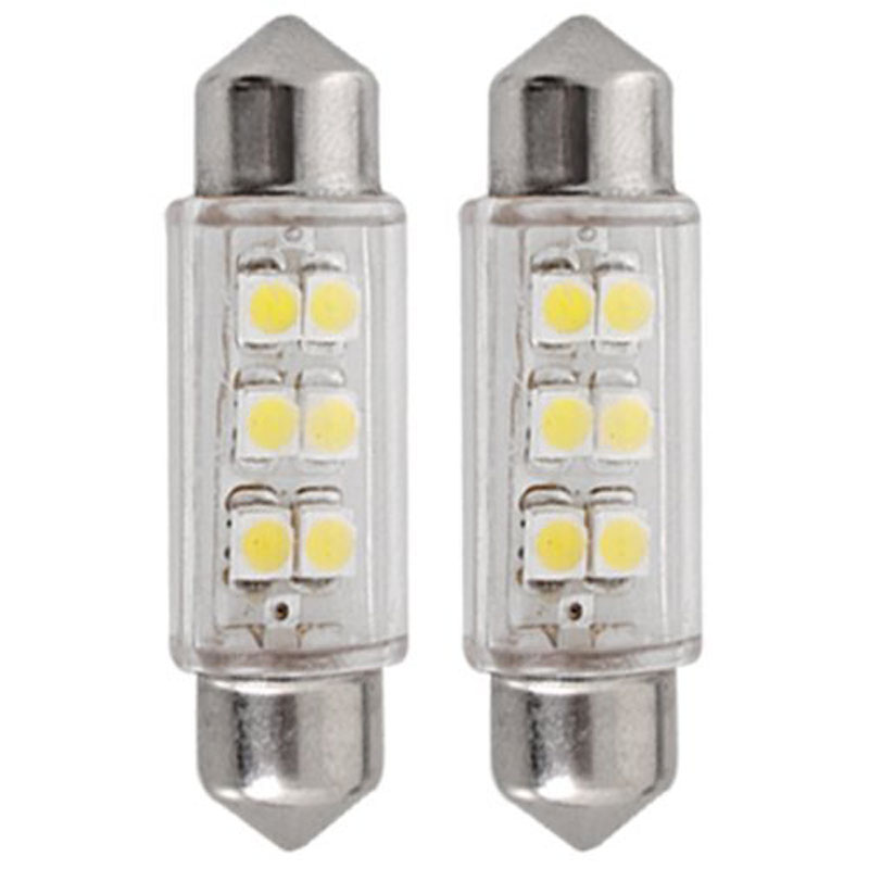 kongyide Healight Bulbs 2PC Superled 39mm SMD 6 LED Car Festoon Bulbs White 12V 3W NOV10