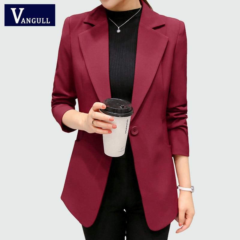 Vangull Women Blazers Jackets 2018 New brand Spring Autumn Fashion Single Button Elegant Blazer Femenino Ladies Blazer Female