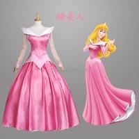 Adult Kids Princess Peach Costume Sleeping Beauty Aurora Dress