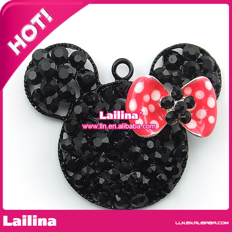 rose pendentif cristal Minnie Mouse Noir bow strass rodBxCeW