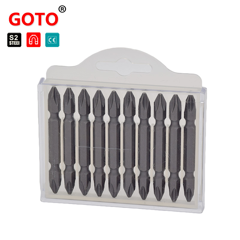 GOTO 10pcs daily use magnetic screwdriver set Hex shank PH2 bits 6.35mm opening double ended driver