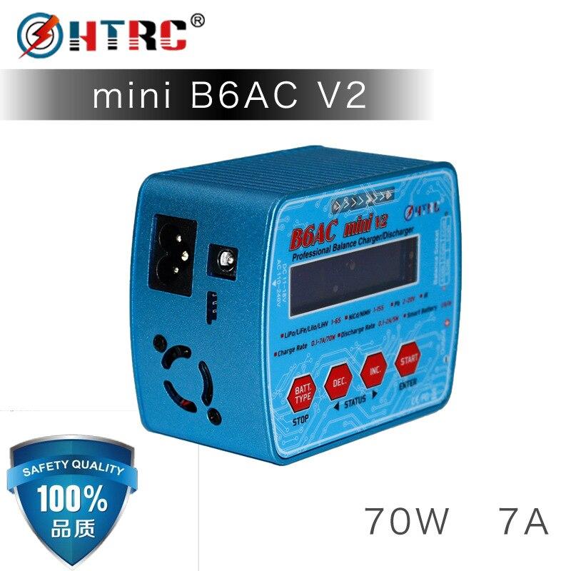 HTRC iMax B6AC Mini V2 70 W 7A cyfrowy kieszonkowy baterii RC zabawka do utrzymywania równowagi z ładowarką Lipo Lihv LiIon życie NiCd NiMH baterii rozładowania w Ładowarki od Elektronika użytkowa na  Grupa 1