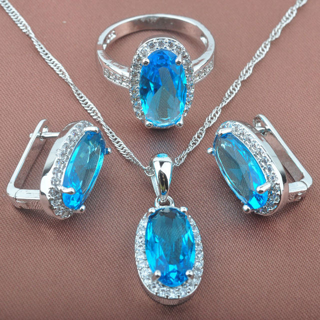 Sky Created Blue Cubic Zircon Women's Stamped  925 Silver Jewelry Sets Necklace Pendant Earrings Rings Free Shipping TS032