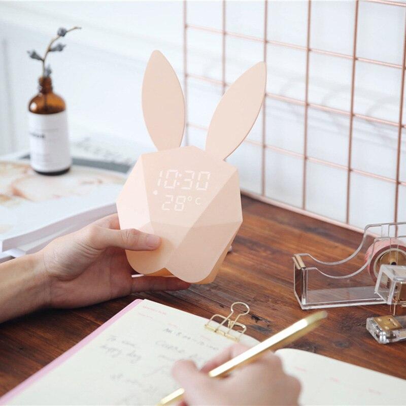 Clocks Voice Control Led Alarm Clock Display Temperature And Calendar Snooze Sleep Function Decor Desktop Table Rabbit Clock Bedroom Alarm Clocks