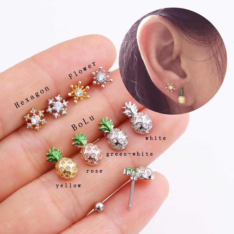 Sellsets 1 Piece 20G barbell plant bloom fruit shape screw steel barbell shinny CZ rook piercing ear tragus helix studs for lady
