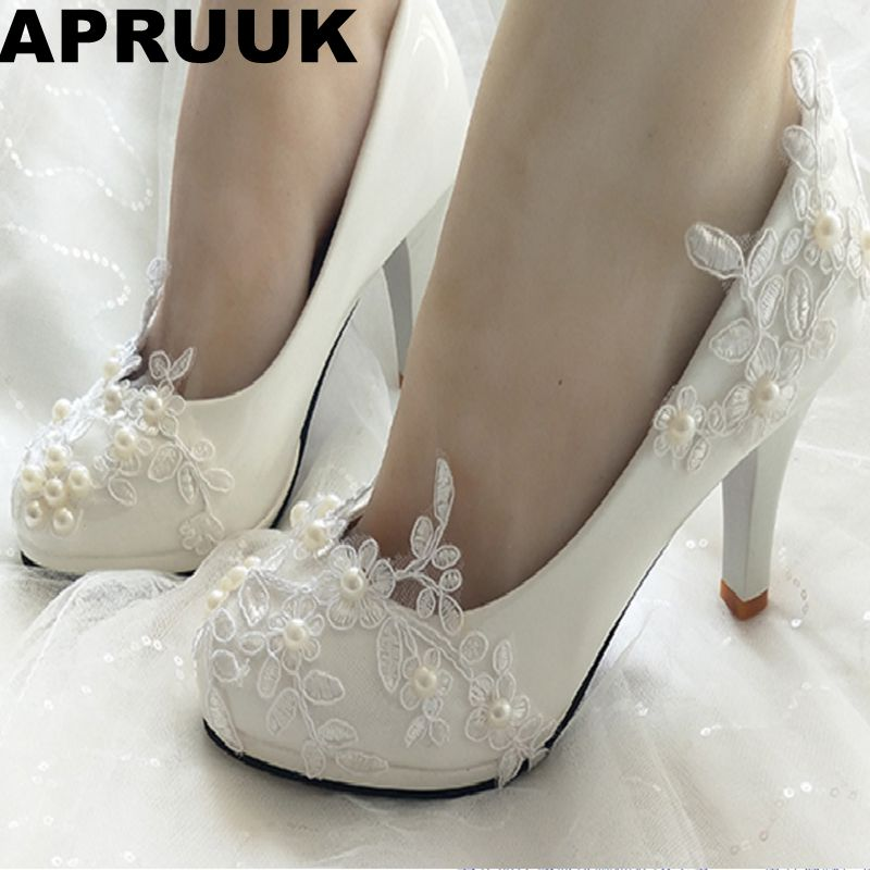 Women s shoes heel laces bridal wedding pumps shoes with ivory pealrs ladies flower girl bridesmaid