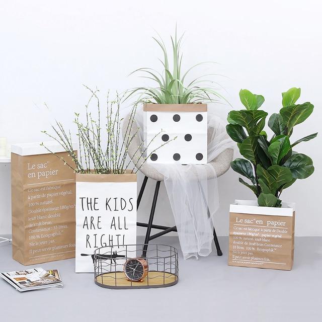 Europe Style Multi Painting Kraft Paper Floor Plant Bonsai Flower Wedding Decorative Paper Vase Home Storage Decor Accessories 4