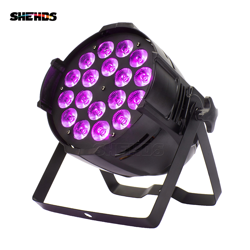 Aluminum Alloy LED Par 18x18W RGBWA+UV 6in1 Stage Lighting LED Spotlight DJ Projector Wash Lighting Wedding Show Party Lights