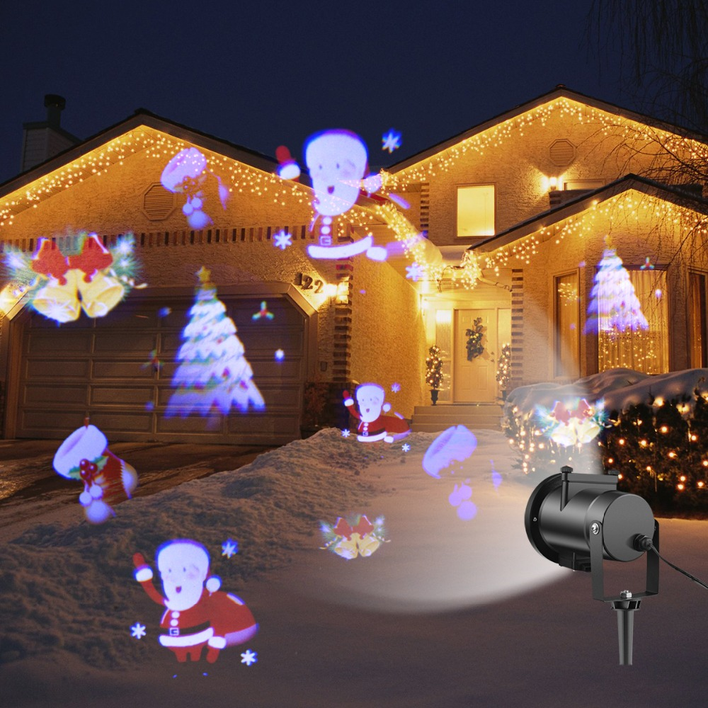 Us 28 7 40 Off 12 Type Rgb Led Snowflake Projector Light Garden Landscape Light Lawn Lamp Christmas Light Outdoor Holiday Decoration Spotlight In