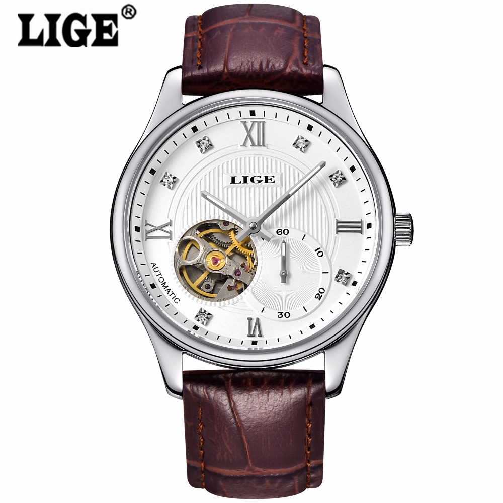 LIGE Automatic Watch Men Tourbillon Mechanical Watches Skeleton Genuine Leather Horloges Mannen Stainless Steel Relogios dubicka i market leader business english active teach advanced cd rom c1 c2 3rd edition