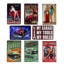 Hohappyme mi garaje mis herramientas mis reglas placa signos de Arte de la pared Decoración Vintage garaje decoración decorativo platos 20*30 cm