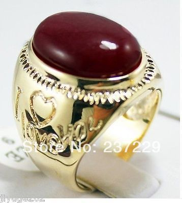 FREE SHIPPING>>Beautiful gold plate red stone Ring size 9-11#