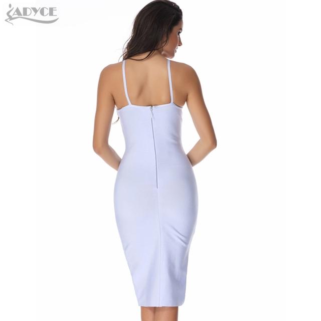 2016 sexy Autumn Dress women party bandage dress light blue pink v-neck spaghetti strap celebrity bodycon Midi dress wholesale