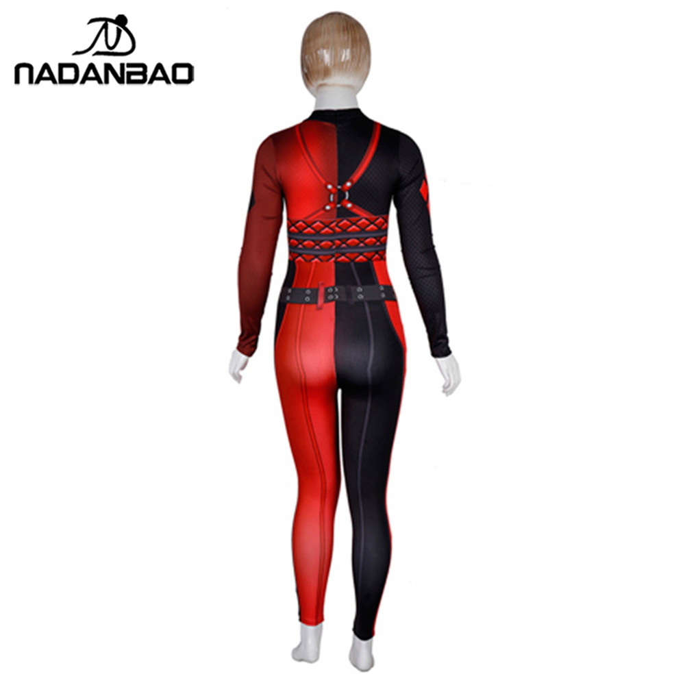 4645dcee9d436 NADANBAO Suicide Squad Harry Quinn Costume Cosplay Bodysuit Plus Size  Jumpsuit Harror Halloween Costumes For Women on Aliexpress.com